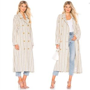Free People Sweet Melody Stripe Duster Trench Coat
